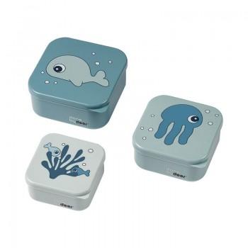 Set 3 Cajas Snacks Sea Friends Blue